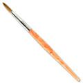 Pinceau résine à faux ongles, manche en plexi, torsadé orange. Tête ronde, taille 4 - PT